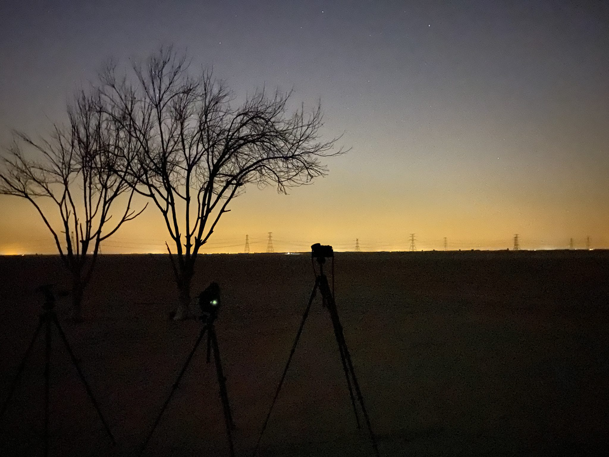 Photography equipment setup to capture star trails